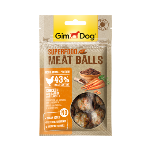 Picture of Gimdog Superfood Balls Chicken,Carrot,Flaxs 70g