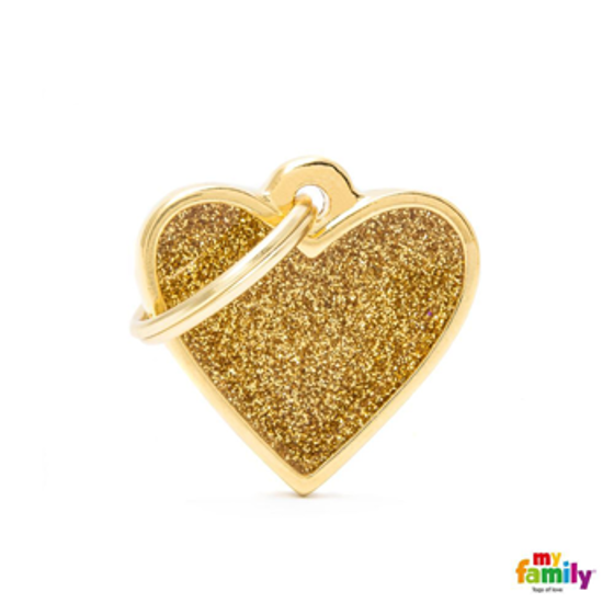 Picture of SMALL HEART GLITTER GOLD