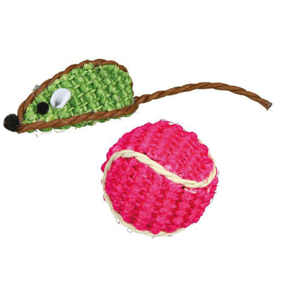 Picture of Sisal mouse and sisal ball 4 cm 2 pcs.