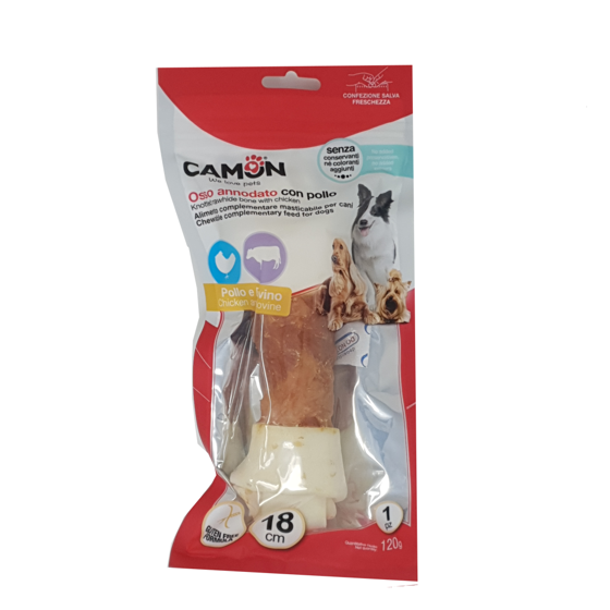 Picture of Knotted rawhide bone with chicken 120gr 18cm