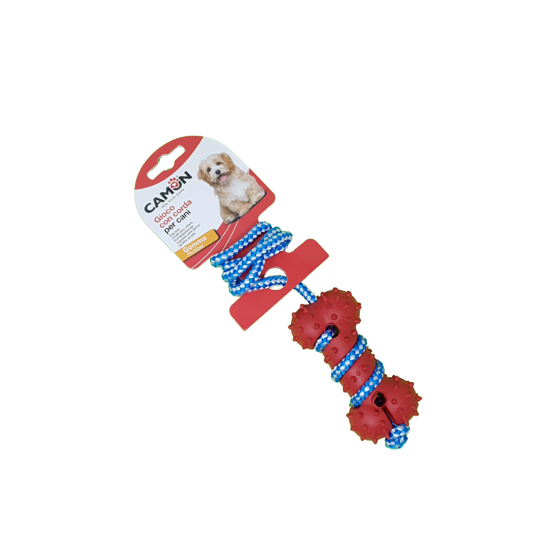 Picture of Dog toy - Rubber bone with rope