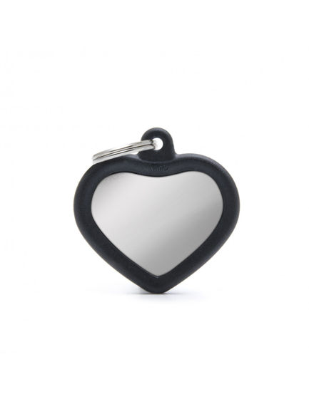 Picture of HEART CHROME PLATED BRASS BLACK RUBBER