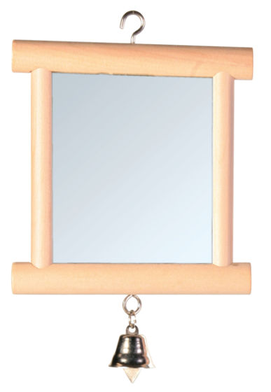 Picture of Mirror with wooden frame and bell 9x10cm