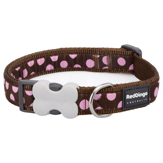 Picture of Dog Collar Pink Spots on Brown S