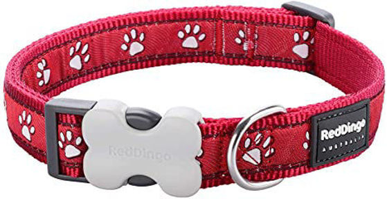 Picture of Dog Collar Pawprints Red XS