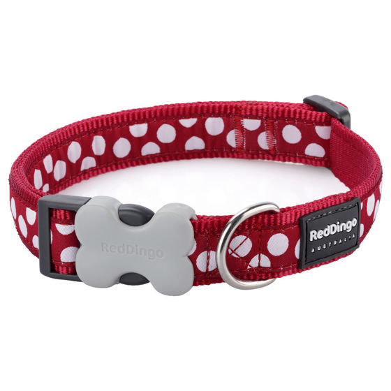 Picture of Dog Collar White Spots on Red XS