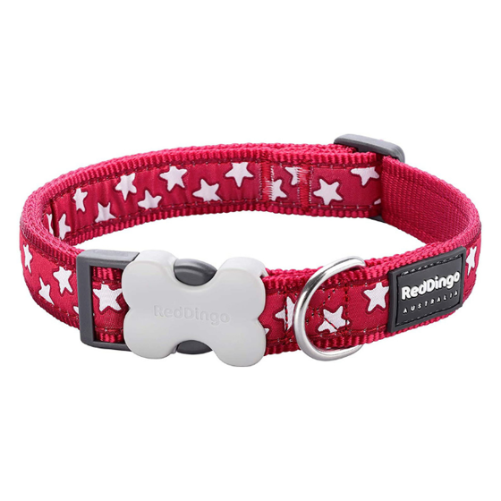 Picture of Cat Collar Design Stars White on Red
